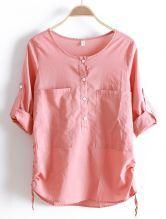 Pink+Round+Neck+Long+Sleeve+Loose+Pockets+Cotton+Shirt+$30.32