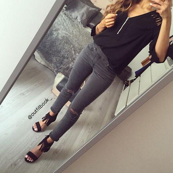 ️Tenue noir x gris ✔️ Les sandales à franges viennent d'arrivées sur notre site j'en suis folle  www.outfitbook.fr #Padgram