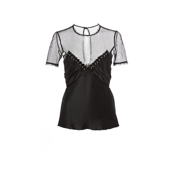 Alexander Wang Ruched Illusion Top With Ball Studs (€705) ❤ liked on Polyvore featuring tops, shirts, short sleeve v neck shirts, ruched v neck top, rouched top, ruched shirt and studded shirt
