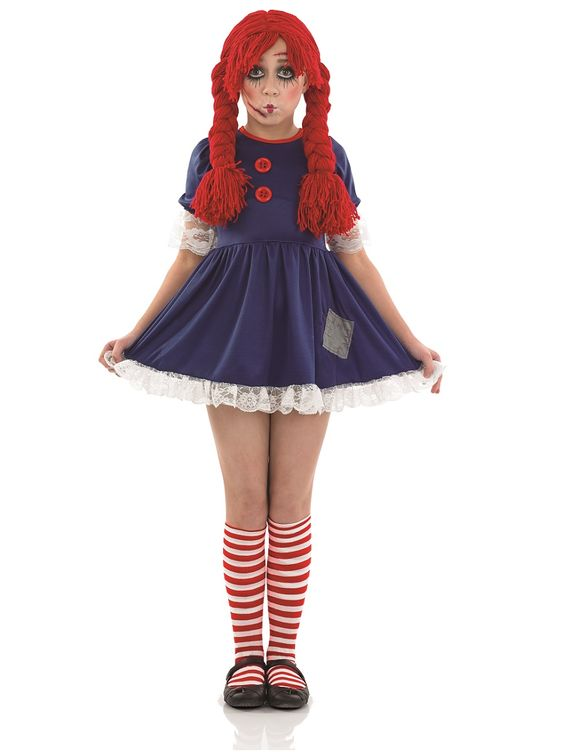 Girls Rag Doll Costume, Comes with Dress and Socks. #FancyDress #Costume #Girls #Childrens #Halloween