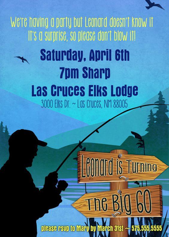 Fisherman theme party fishing theme milestone birthday for Fishing birthday party invitations