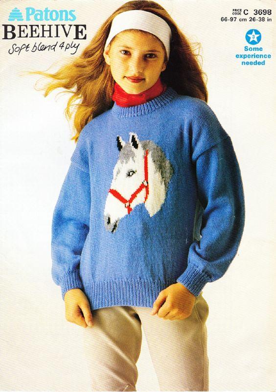 Patons Knitting Pattern 3698, Girls & Ladys Pony Horse ...