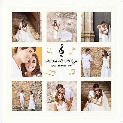 carte de remerciements de mariage musique personnaliser sur httpwww - Modele Carte Remerciement Mariage