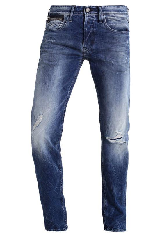 Replay NEWBILL Jeans Straight Leg destroyed denim Bekleidung bei Zalando.de   Material Oberstoff: 98% Baumwolle, 2% Elasthan   Bekleidung jetzt versandkostenfrei bei Zalando.de bestellen!