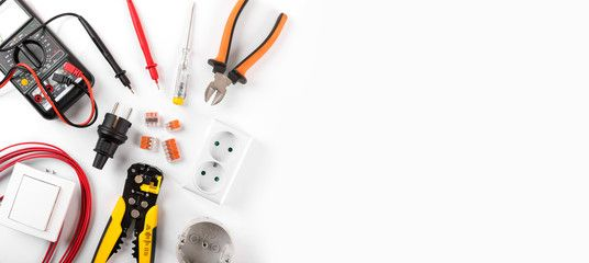 Electrician Equipment On White Background With Copy Space Top View Ad White Background Electrician Equi Electrical Installation London 24 Hour Electrician