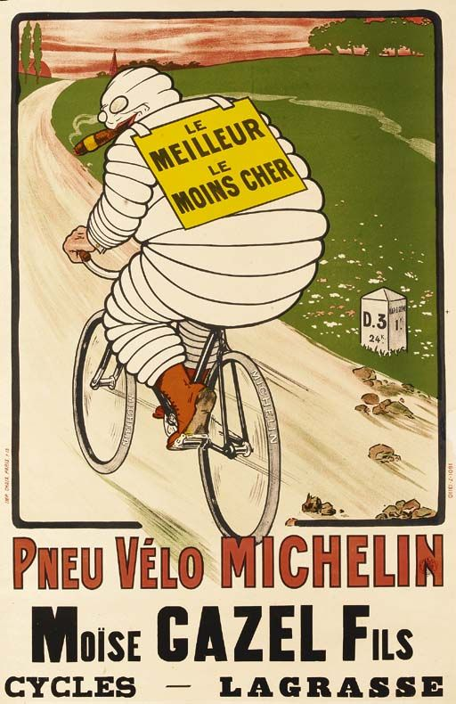 Poster French Tyre Tyres Bicycle PNEU VÉLO MICHELIN Cycle  Print