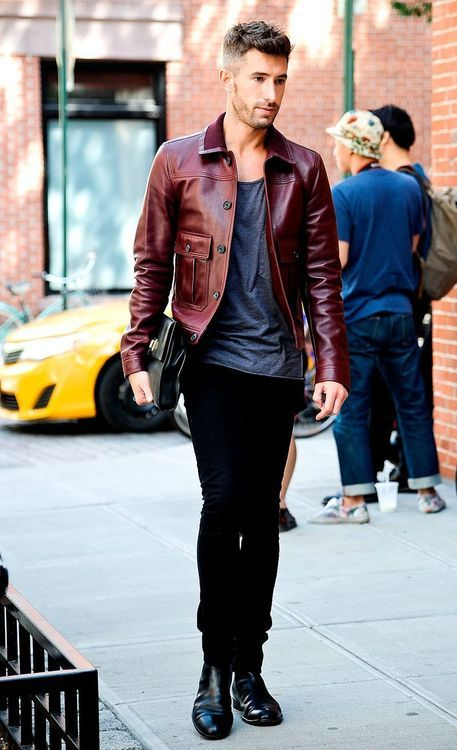 Dark red leather jacket , style and fashion tips for men
