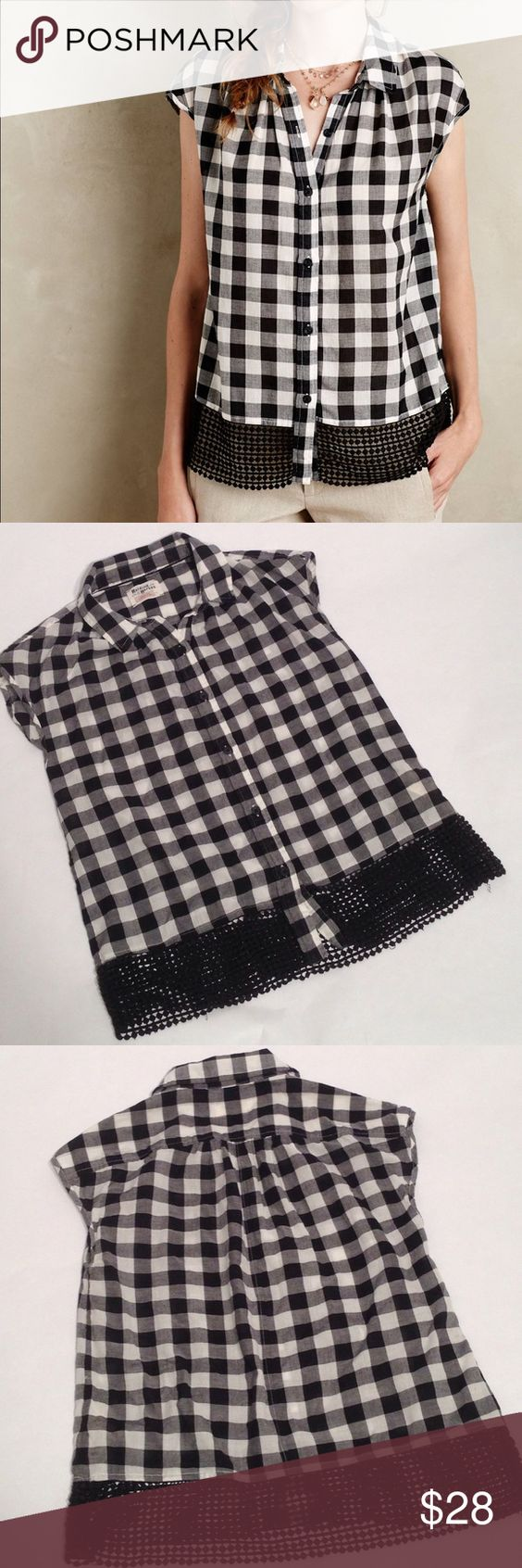 """Holding Horses Nellie Gingham black/white top SM Beautiful gingham button down top from Anthropologie.  Excellent used condition.  Underarm to underarm is approx 20"""" side to side.  Length from shoulder swam at collar to hemline is approx 24.5"""".   100% cotton.  Please check measurements before purchasing for fit! Anthropologie Tops Button Down Shirts"""