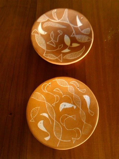 cerámica con esgrafiado
