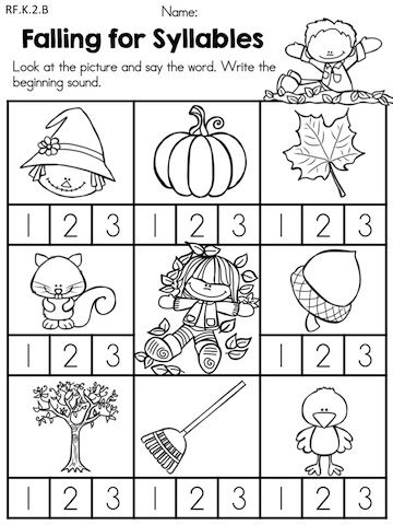 Worksheets Kindergarten Fall Worksheets language arts worksheets syllable and art on pinterest autumn kindergarten no prep worksheets