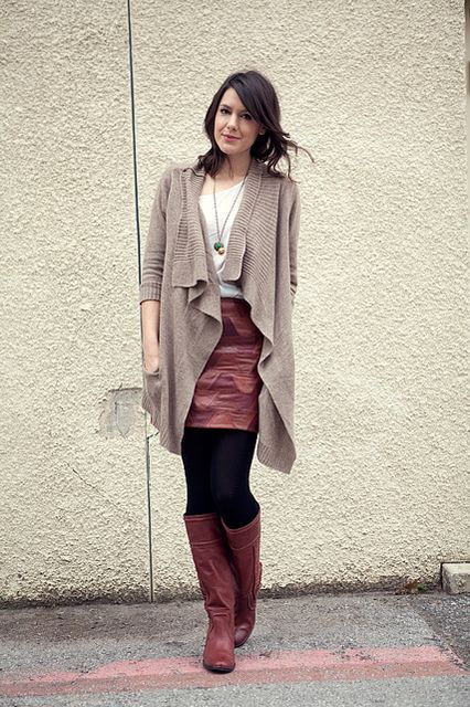 Black leather skirt and brown boots – Modern skirts blog for you