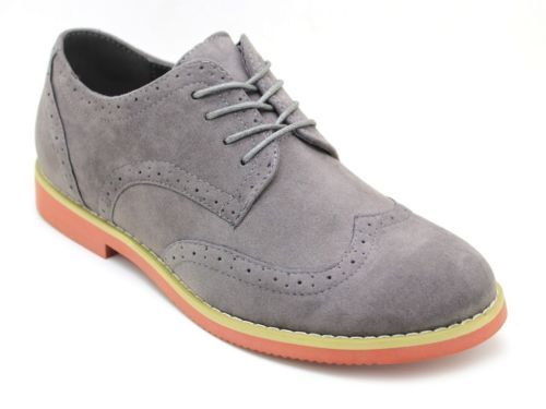 New Men&39s Alberto Fellini Wing Tip Lace Up Casual Dress Shoes Gray ...
