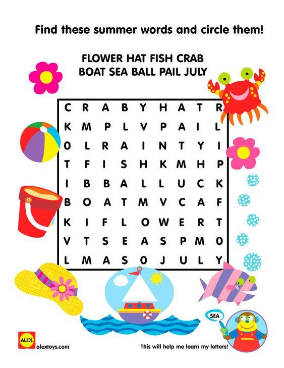 Free Summer Crossword #Printable #alextoys | alextoys.com ...