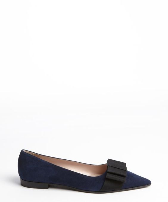 Miu Miu : navy suede bow detail pointed toe loafers : style # 330954501