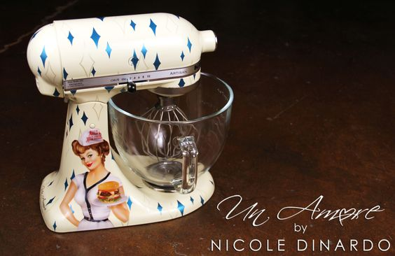 Vintage pinup themed custom painted kitchenaid mixer with boomerangs and sparks by nicole - Decorated kitchenaid mixer ...