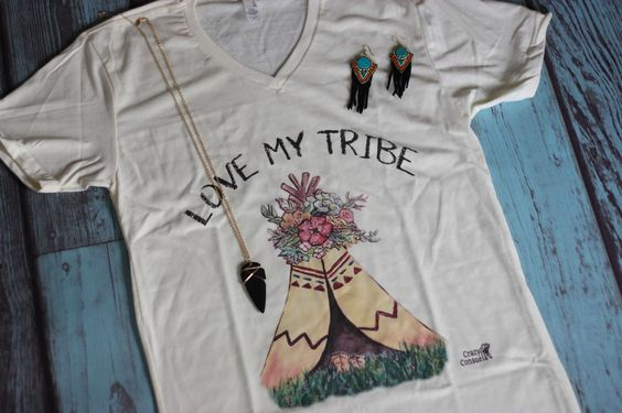 Love My Tribe Family Tee Shirt  V-Neck - Uni-Sex Fit  Based on the HOLLIE GARZA painting  Uni-Sex Fits True To Size     | Shop this product here: spreesy.com/saddles-lace/190 | Shop all of our products at http://spreesy.com/saddles-lace    | Pinterest selling powered by Spreesy.com