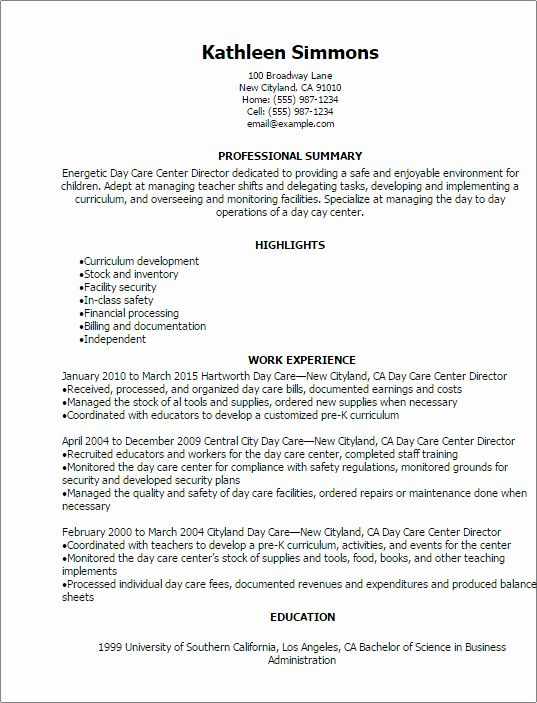 Child Care Job Description Resume Fresh 1 Day Care Center Director Resume Templates Try Them Now In 2020 Teacher Resume Job Resume Samples Care Jobs