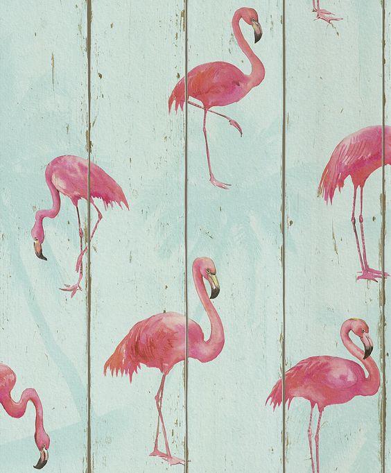 Pinke Flamingos auf hellblau | Hersteller und Lieferanten Rasch Tapeten b.b…