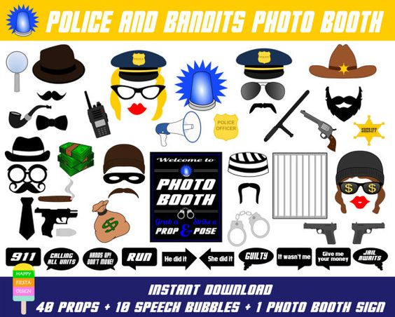 Police Photo Booth Props-51 Pieces (40 props,10 talk bubbles,1 sign)-Robber,Bandit,Mafia,Prisoner,Officer,Sheriff,Detective-Instant Download