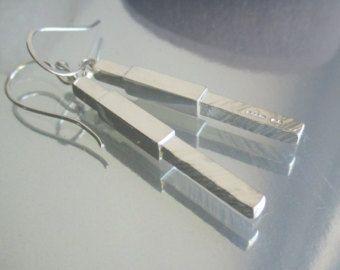 Handmade designer 'pillar' solid sterling silver drop earrings - Edit Listing - Etsy
