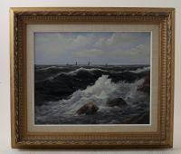 Oljemålning, Lars Norberg, Kust, signerad, 39x50. Metropol - Auktioner i Stockholm och på nätauktion med konst och inredning - 5050