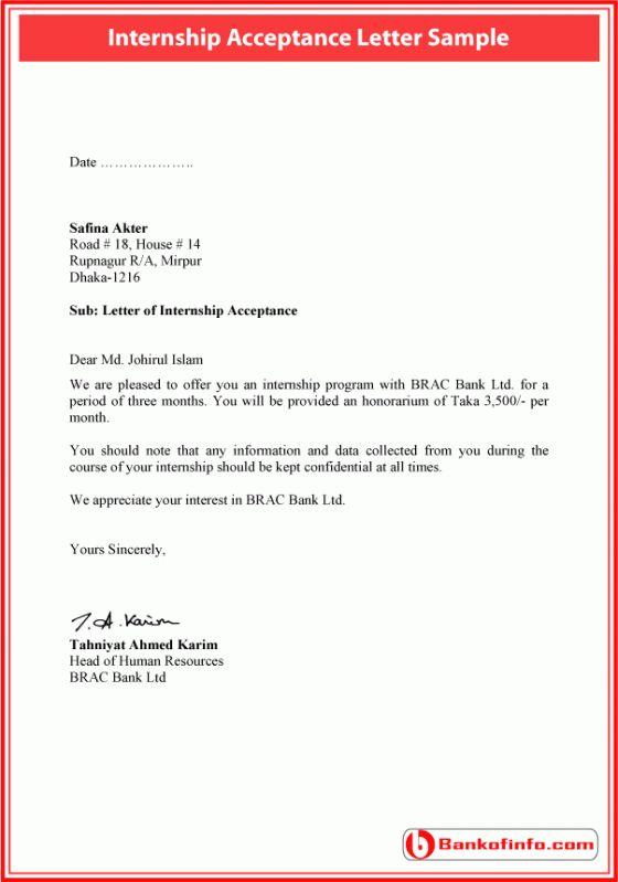 Internship acceptance letter sample Letter Pinterest Letter - sample internship report template