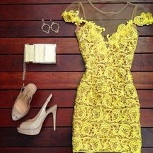 New Arrival moda feminina amarelo malha oco Out Lace Bodycon vestido de renda Cocktail Mini vestido grátis frete(China (Mainland))