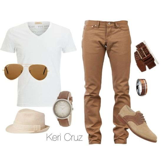 Men's Relaxed Fashion by keri-cruz on Polyvore featuring Ray-Ban, Naked & Famous, Replay, ALDO and Emporio Armani