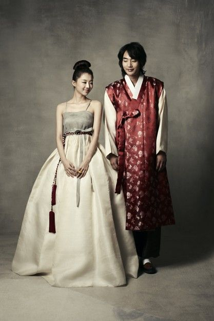Beautiful modern hanbok for couple traditional korean for Korean wedding dress traditional