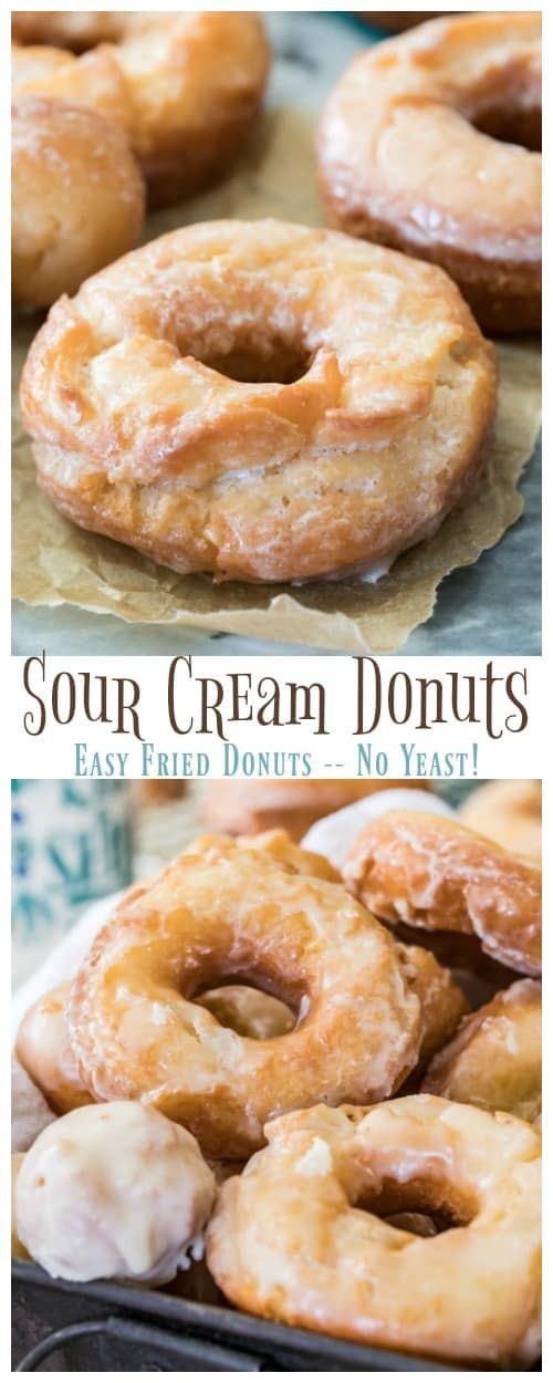 How To Make Sour Cream Donuts These Are Easy Fried Donuts Made Without Yeast Everyone Loves This R Sour Cream Donut Easy Donut Recipe Homemade Donuts Recipe