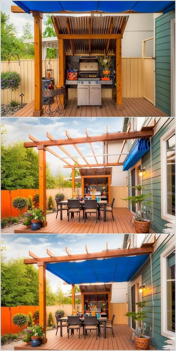 Use a Pergola and a tarp as a cover option for the grill area: