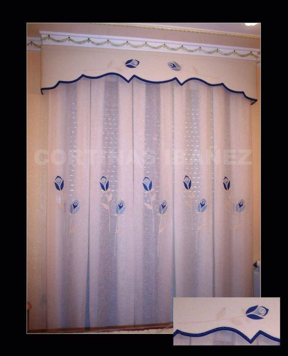 Cortinas clasicas cortina de visillo bordado confeccionado for Como hacer un bando para cortinas