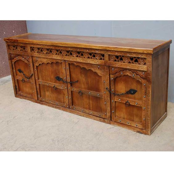 1P. Solid Wood Hand Carved Sideboard Buffet w Wrought Iron Hardware