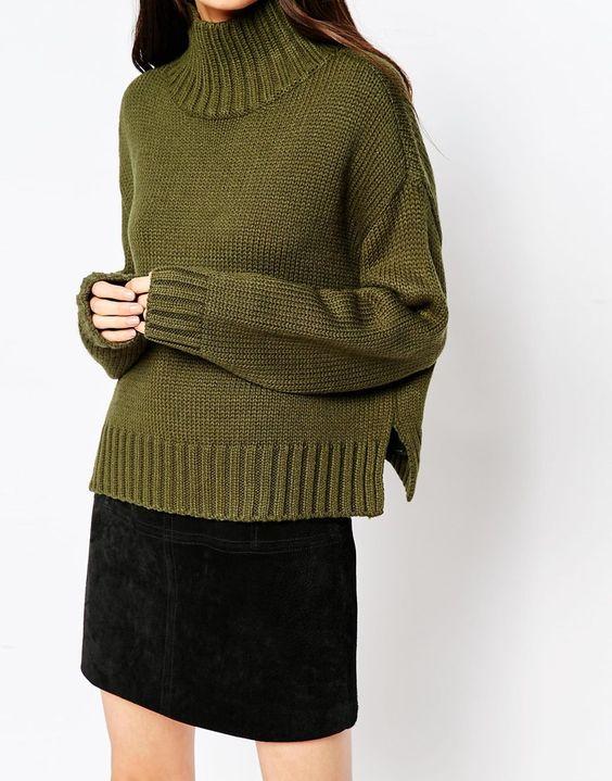 Khaki high neck jumper