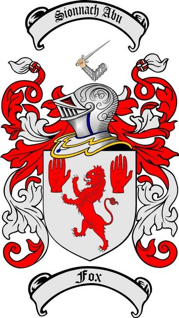 FOX FAMILY CREST - COAT OF ARMS from the website www.4crests.com #coatofarms #familycrest #familycrests #coatsofarms #heraldry #family #genealogy #familyreunion #names #history #medieval #codeofarms #familyshield #shield #crest #clan #badge #tattoo
