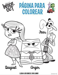 Dibujo para colorear Inside Out disgust anger fear
