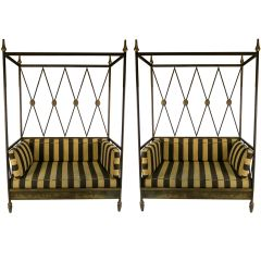 Pair of Regency Style Canopied Daybeds
