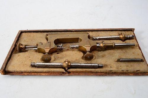 Antique Brass & Steel Jacot Pivot Lathe Tool In Original Case Marked DL PP V2399