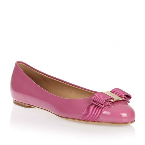 Salvatore Ferragamo Varina patent pink ballerina ($368) ❤ liked on Polyvore featuring shoes, flats, pink, flat pumps, pink flat shoes, pink shoes, pink ballerina flats and ballet shoes