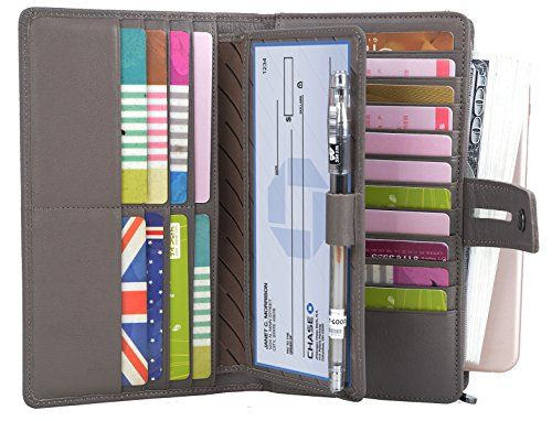 Genuine Soft Leather Purse Wallet Large Navy Blue with Flap for Cards RFID