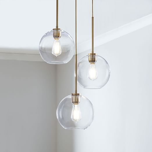 Sculptural Glass 3 Light Globe Chandelier Clear In 2020 Glass