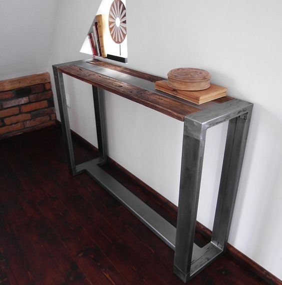 Rustic Handmade Reclaimed Wood & Steel Industrial Console Table