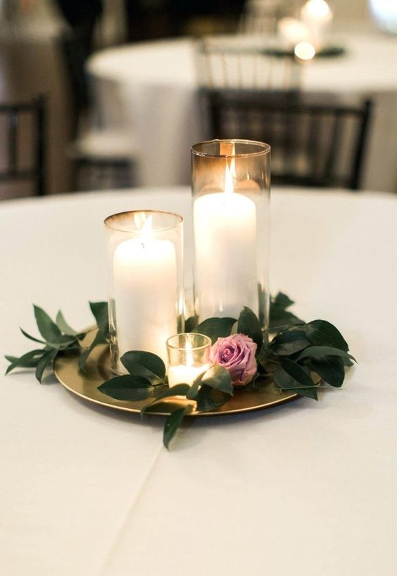 Diy Wedding Centerpieces Ideas On A Budget Cake Table Decoration Simple Centerpiece Candle Purple Greenery #weddingdecoration | Diy Wedding Centerpieces Candles |  Wedding Centerpieces  | Diy Wedding Centerpieces Without Flowers | Dollar Store Centerpieces. #weddingplanner #Party ideas