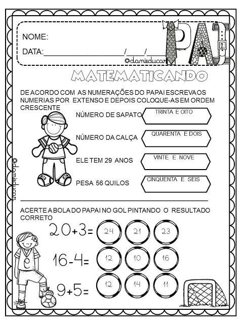 Atividades Dia Dos Pais Matematica Danieducar Com Imagens