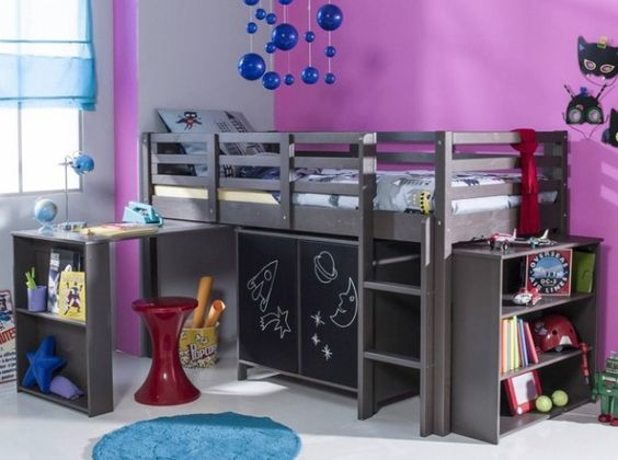 3suisses lit enfant sureleve kids pinterest lieux mezzanine et bureaux. Black Bedroom Furniture Sets. Home Design Ideas