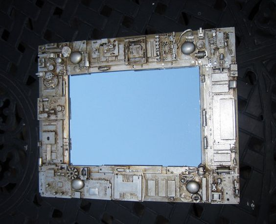 Techie steampunk mirror. Unique gift. Recycled by OfficeDeco