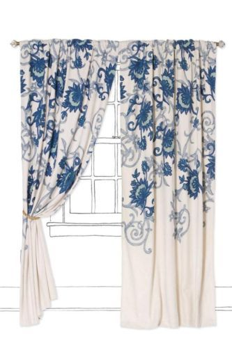 New Anthropologie Stitched Mansoa Curtain New 50 x 108 Blue 2 ...