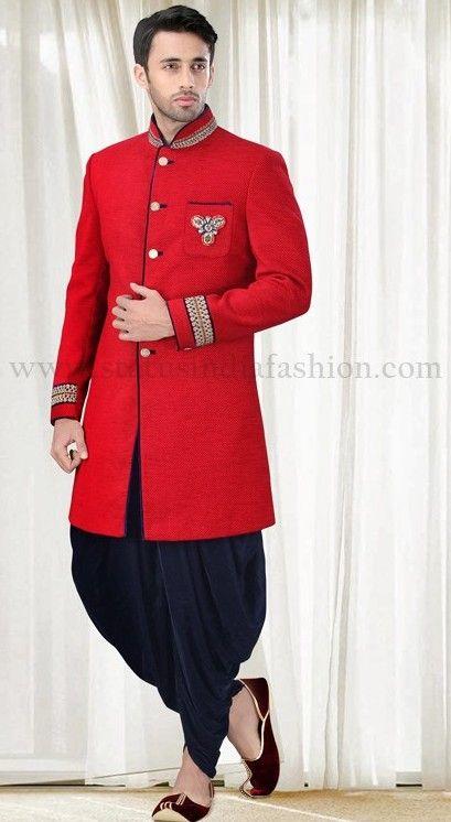 Sherwani groom wedding dress and men wear on pinterest for Indo western wedding dress for men
