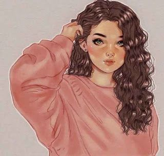 صور بنات كرتون كيوت Digital Art Girl Curly Hair Drawing Art Girl