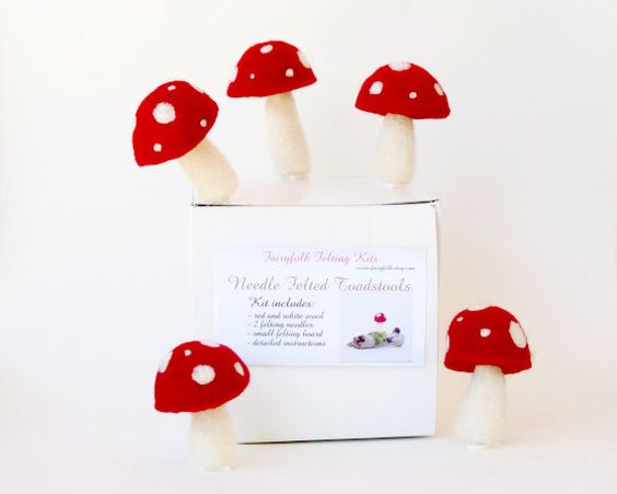 Learn to Needle Felt.    This kit includes all you will need to needle felt 10 cute little toadstools (or 4 larger ones)... red and white wool, two